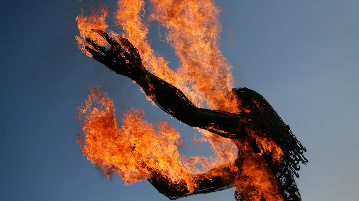 """One of the first prototypes of the new """"Burning Person"""" to be featured at next year's festival."""