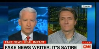 Famous Fake News Provocateur and satirist Paul Horner Dead at 37. Seen here with Anderson Cooper following the 2016 election.
