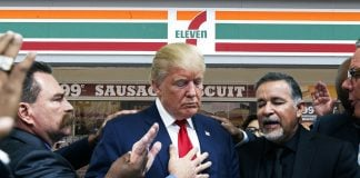 President Trump seen here praying for all the victims of 7-Eleven.