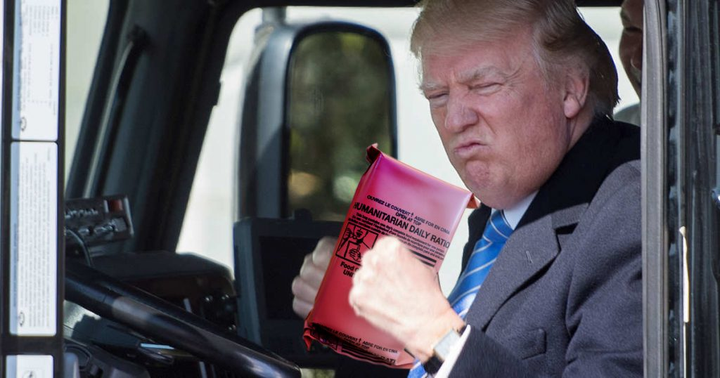 Trump sends Rice and Beans to the Purrto Rican people after Hurricane Maria.
