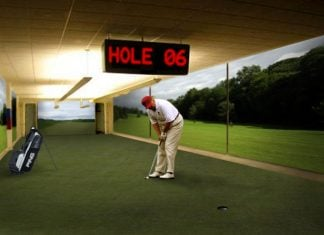 President Donald Trump seen here in the newly renovated underground White House golf course