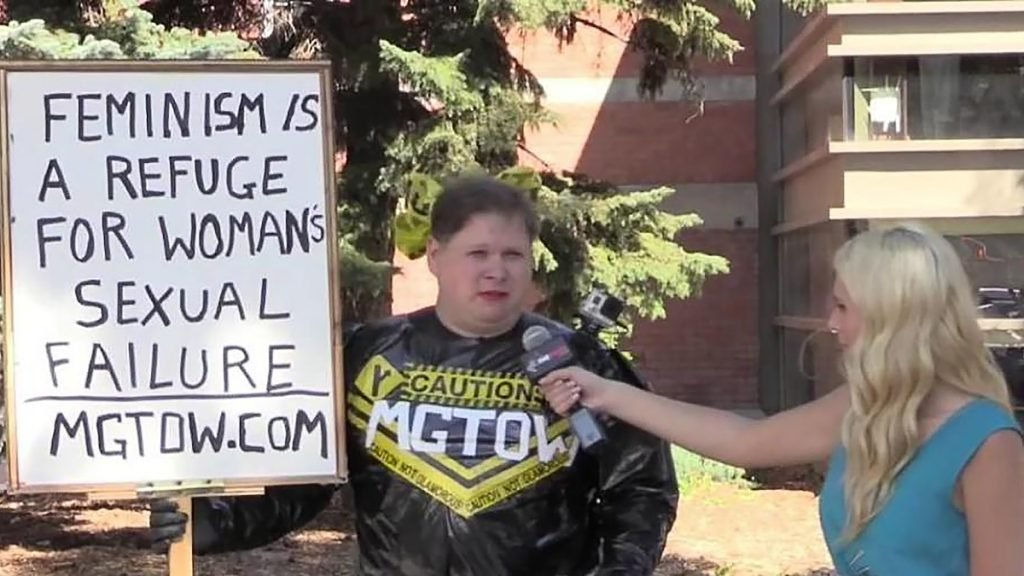 Trent Turco in one of his many MGTOW singular protests.