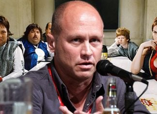 Mike Judge seen discussing his upcoming prequel to his 2006 cult classic Idiocracy.