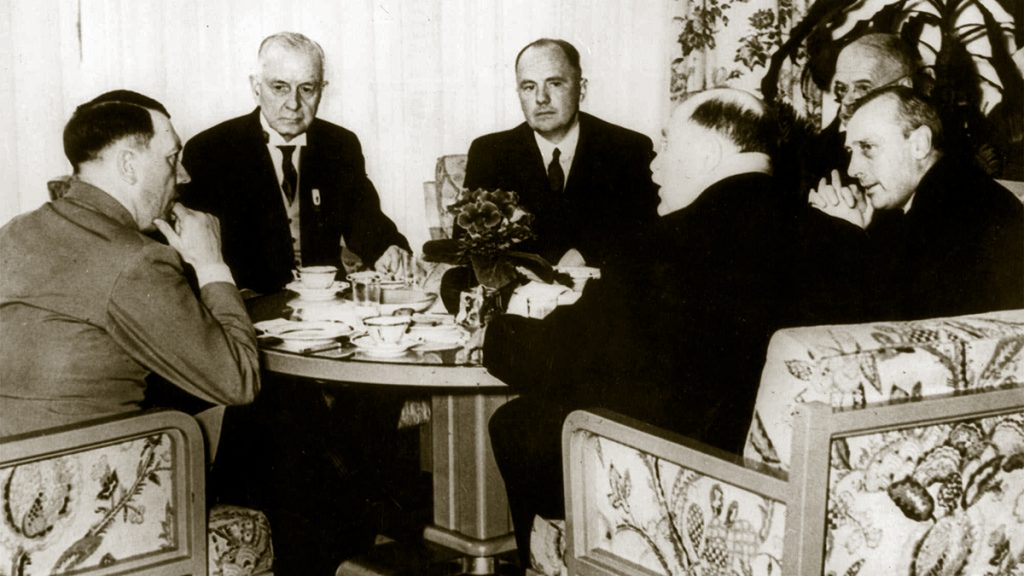Thomas J. Watson, head of IBM and president of the International Chamber of Commerce and members of the board of the ICC meet with Adolf Hitler at The Reich Chancellory in Berlin, Germany, 1937.