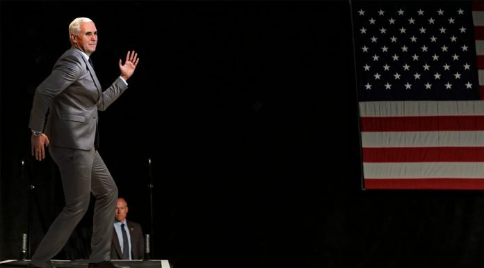 """Vice President Pence broke into an unscheduled spontaneous """"robot dance"""" during a campaign stop in Green Bay, WI."""