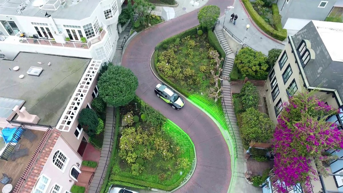 Nvidia's attempt at a self-driving car seen here stuck on Lombard Street in San Francisco moments before the automobile burst into tears.