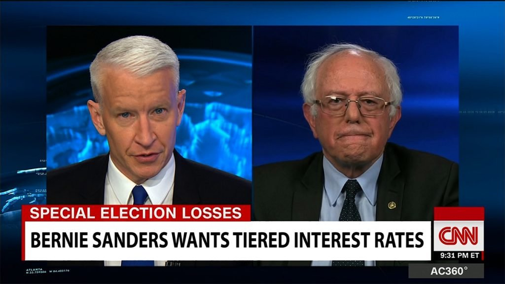 "Senator Bernie Sanders of Vermont is proposing ""tiered"" interest rates based on your income."