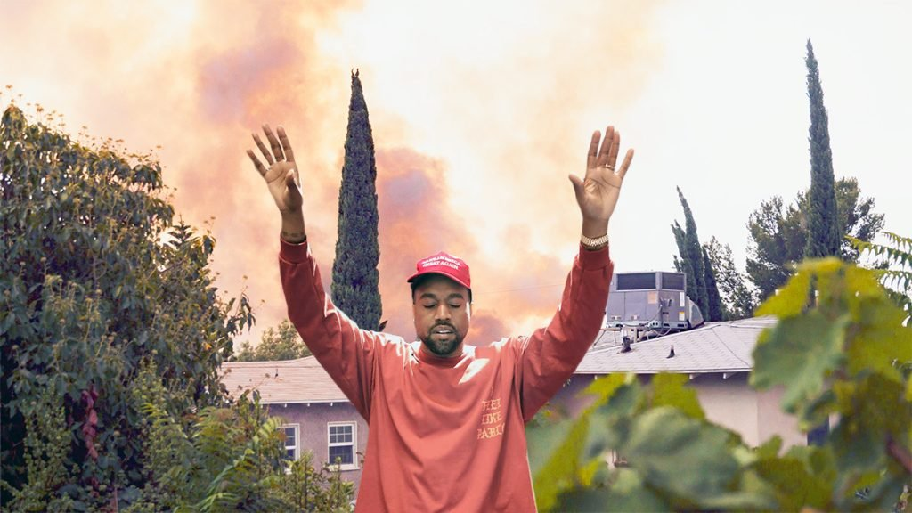According to Kayne West, now known a 'B', he was able to save his home by merely talking to the wildfire.