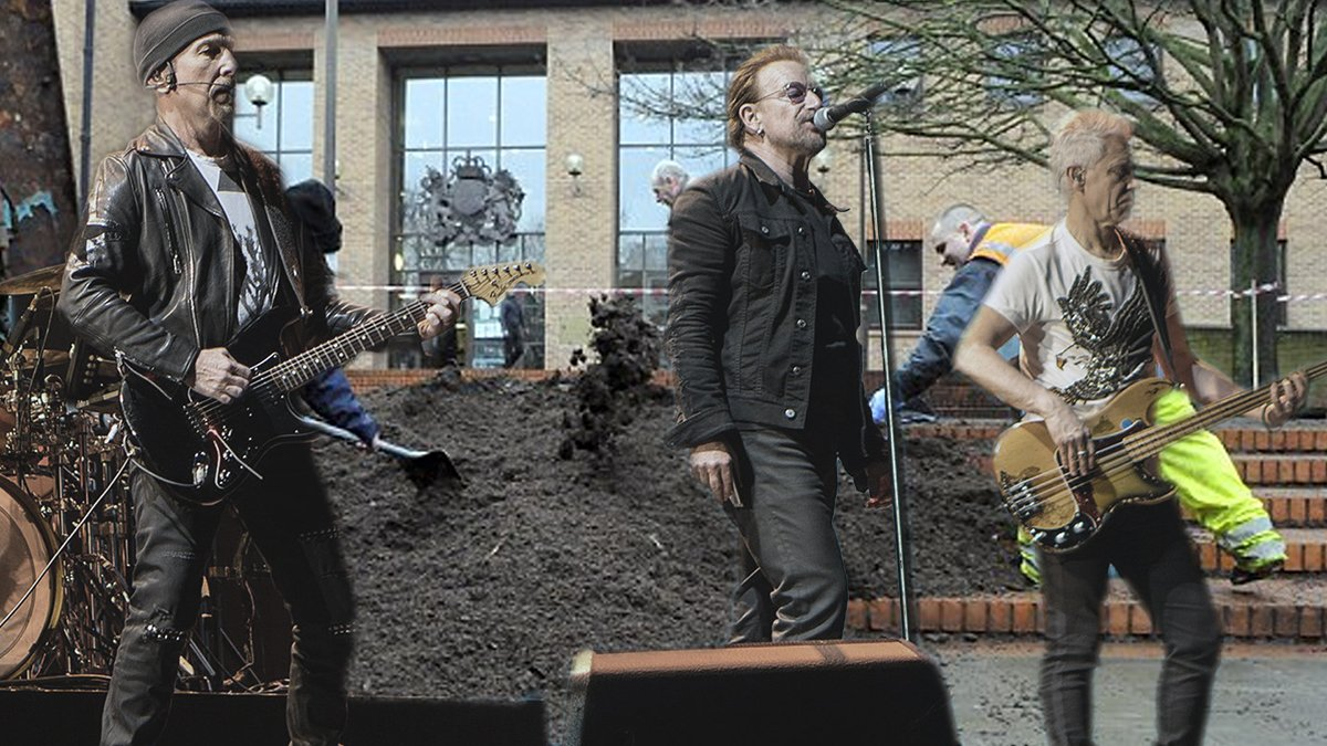 Aging rock band U2 nearly missed certain death by manure following an attempted 'peace concert' in Paris.
