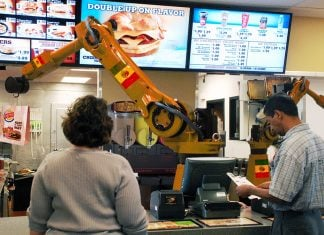 "A new Burger King restaurants being operated by two ""automated staff"" in Miami, FL."