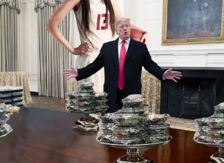 "President Trump today offered salads to the ""girls"" basketball team from Syracuse."