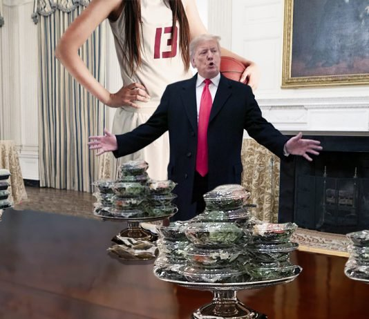 """President Trump today offered salads to the """"girls"""" basketball team from Syracuse."""