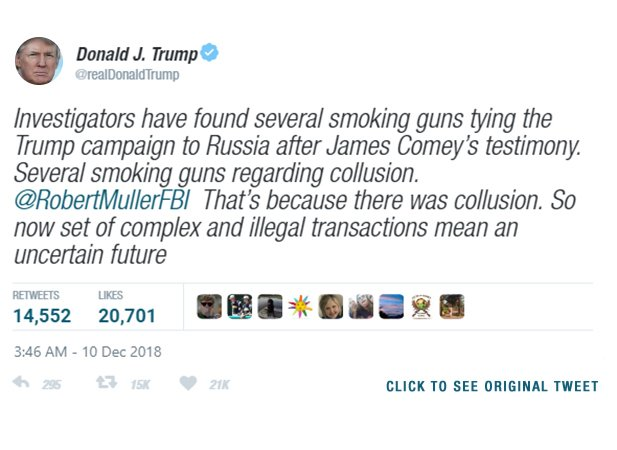 A 'fact-checked' tweet from President Trump, dated December 10th, 2018.